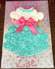 Cupcake Cakes For Baby Shower Ba Shower Cakes Inspirational Cupcake Cakes For Ba Showers Cupcake Dress Cake, Baby Shower Cupcake Cake, Baby Shower Cupcakes For Girls, Pull Apart Cupcake Cake, Cupcake Cakes, Girl Baby Shower Cakes, Cupcake Art, Cupcake Ideas, Baby Cakes
