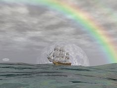 Old merchant ship under the rainbow on the ocean by cloudy day - render Under The Rainbow, Boat Art, Cloudy Day, Titanic, Fine Art America, Whale, Boats, Digital Art, Ocean