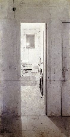 Lopez Garcia, The Bathroom, a drawing from 1973.