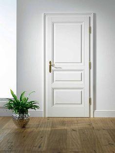 Bellevue sanding varnish white, with 3 fillings, frame with … – Door Types Wooden Door Knobs, Wooden Doors, Door Design Interior, Interior Modern, Wood Slat Wall, Reclaimed Wood Floors, 4 Bedroom House Plans, Classic Doors, Grey Paint Colors
