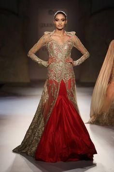 ~ Living a Beautiful Life ~ Gaurav Gupta at India Couture Week 2014 - red gold lehnga with sheer sleeves Indian Gowns, Indian Outfits, Indian Clothes, Indian Attire, Indian Wear, Couture Week, Haute Couture Fashion, Patiala Salwar, Anarkali