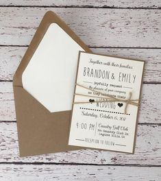 Simple Wedding Invitations On Etsy for the No-frills Couple Simple Rustic Wedding Invitation Rustic Modern Invitation Kraft Wedding Invitations, Rustic Invitations, Elegant Wedding Invitations, Invites, Minimalist Invitation, Minimalist Wedding Invitations, Wedding With Kids, Trendy Wedding, Wedding Ideas