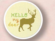 Hello My Deer Pun Cross Stitch Pattern PDF File by andwabisabi, $3.50