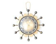 Vintage starburst clock ATLANTA wall clock 60s brass clock
