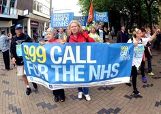 999 CALL The peoples march to protect the NHS from privatisation passed through Dewsbury last month, and took the route of the historic Jarrow March to London (w306m434)