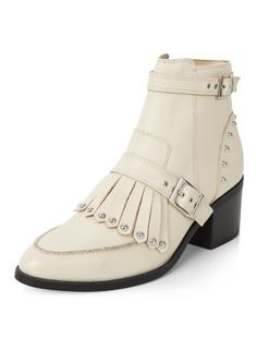 Cream Premium Leather Studded Fringe Ankle Boots | New Look