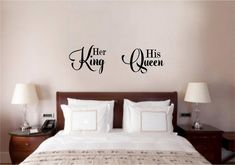 Her King His Queen Love Vinyl Decal Wall Decor Sticker Words Lettering Quote Art - Ceres Home Decor Bedroom Wall Art, Bedroom Makeover, Bedroom Decor, Wall Decor Bedroom, Wall Decor Stickers, Diy Home Decor, Home, Home Decor, Bedroom Wall