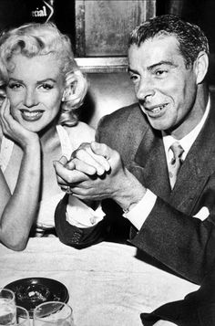 Marilyn and Joe DiMaggio have dinner at Chasens Restaurant in West Hollywood after Marilyn and Jane Russell's imprint ceremony at Graumans Chinese Theatre, June 26th 1953.