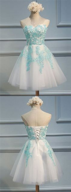 A-Line Sweetheart Short White Tulle Homecoming Dress with Appliques,80801