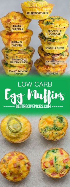 Low Carb Egg Muffin make the perfect breakfast for on the go. Theyre packed with protein and so convenient for busy mornings. Low Carb Egg Muffin make the perfect breakfast for on the go. Theyre packed with protein and so convenient for busy mornings. Healthy Dinner Recipes For Weight Loss, Dinner Healthy, Low Carb Egg Muffins, Mini Egg Muffins, Spinach Egg Muffins, Sausage Egg Muffins, Eggs Low Carb, Pancake Muffins, Bacon Egg