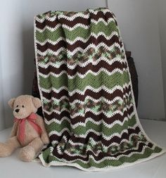 camo+crochet+blanket   Crochet / Baby Ripple Afghan Crib Blanket Baby Camo by SnugableTouches ...