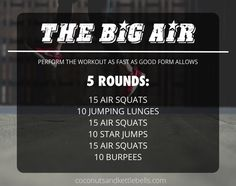 Shares This body weight workout uses a combination of air squats and jumping exercises to create a high intensity workout that will have you getting air, and then needing it. While the objective of this workout is to perform it as a fast as possible, this does not mean proper form should be sacrificed. When …