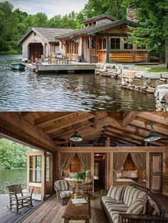 Haus am See *-* Cabin In The Woods, House By The Lake, Cabin On The Lake, Log Cabin Homes, Log Cabins, Rustic Cabins, Rustic Lake Houses, Log Cabin Living, Mountain Cabins