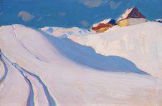 clarence gagnon / farm on hillside, charlevoix Watercolor Landscape, Landscape Art, Landscape Paintings, Canadian Painters, Canadian Artists, Illustrations, Illustration Art, Clarence Gagnon, Painting Snow