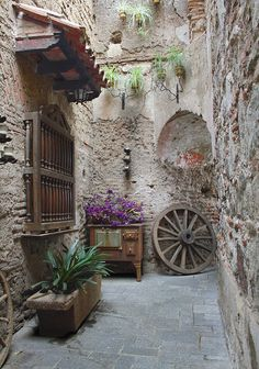 garden design - Items similar to Old Courtyard, Antique photography Old wheels wooden windows Brown art on Etsy