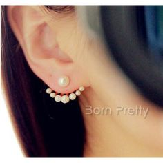$1.49 Palm Shaped Ear Studs Gorgeous Pearl Earrings - BornPrettyStore.com
