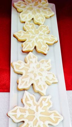 Pretty snowflake cookies at a Christmas party!  See more party ideas at CatchMyParty.com!  #partyideas #christmas
