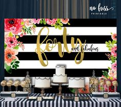 Forty and Fabulous Backdrop Adults Party Banner Poster 40th Birthday Themes, 40th Bday Ideas, 40th Birthday Decorations, Birthday Backdrop, 40th Birthday Parties, Birthday Celebration, Birthday Ideas, 50th Party, Birthday Stuff
