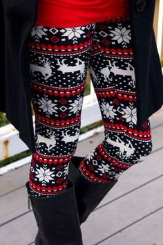 Black, White, and Red Reindeer and Snowflake Leggings.