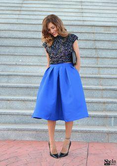 Blue Flare Pleated Midi Skirt -SheIn(Sheinside)