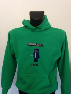 Green hoodie Minecraft, Hoodies, Green, Sweaters, Fashion, Moda, Sweater, Parka, Hoodie