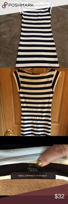 French connection striped dress French Connection navy and white striped dress. Cotton and spandex. This dress is fun with flip flops or heels. French Connection Dresses