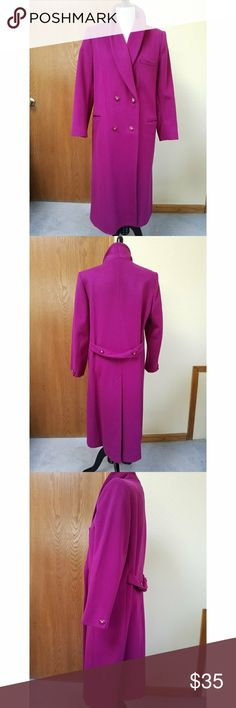 "Bert Newman Vintage 80s Hot Pink Wool Coat Wow, this color ought to keep you extra warm this winter, if the wool isn't enough! Your friends and family will be able to find you in a crowd in this gorgeous coat. It does show a few areas of wear, as shown in pics, but no stains or tears. Pre-owned.  No size tag, but marked ""petite""; it fits me pretty well, and I wear 8 to 10; the sleeves are just slightly short on my average arms. They measure 24"" long. Total coat length 45""; bust 22""; and…"