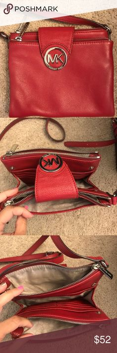 Michael Kors (leather) Crossbody Michael Kors red Crossbody. 100% Genuine Leather. That pop of color to any outfit. Excellent condition. Gorgeous peeble soft leather. KORS Michael Kors Bags Crossbody Bags
