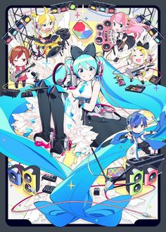 Comes with special book of Magical Mirai 2016 Len Y Rin, Poster Anime, Miku Chan, Manga Covers, Kaito, Best Waifu, My Idol, Cute Art, Chibi