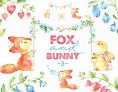 Fox e Bunny 3. Acquerello animale clipart fiori bordi