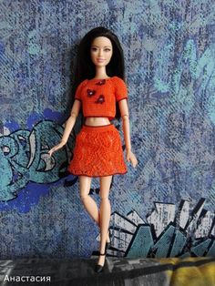 Knitted Dolls, Bari, Knit Or Crochet, Two Piece Skirt Set, Knitting, Skirts, Dresses, Fashion, Crochet Barbie Clothes
