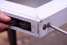Removing the set screw and roller from the vinyl frame Glass Door Repair, Sliding Glass Door, Sliding Doors, Vinyl Frames, Wine Bottle Art, Furniture Repair, Painting Kitchen Cabinets, Home Repair, Door Handles