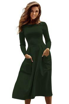 Olive Bateau Collar Casual Big Pocket Skater Dress Cheap Skater Dresses 2295b7b03ba3