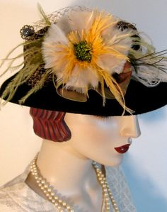 Victorian Boater with Feather Flower by ThistleCottageStudio