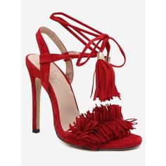 Stiletto Heel Fringe Sandals (2.095 RUB) ❤ liked on Polyvore featuring shoes, sandals, red stiletto shoes, stiletto heel sandals, red fringe shoes, red shoes and fringe shoes