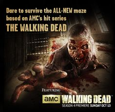 The Walking Dead and Evil Dead mazes. Starts Sep. 20, 2013. Universal Studios Horror night.