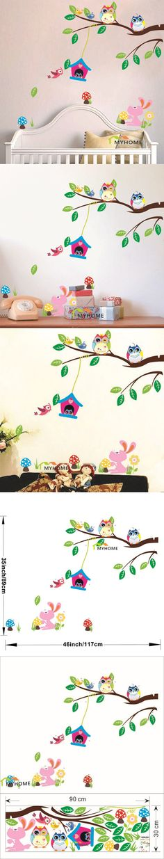 Removable Cartoon Animals Baby Child Decals Cute Birds Owl Wall Stickers for Kids Rooms Home Decor (Environmental PVC) $4.99