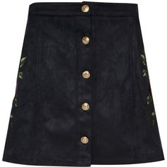 Embroidered Button Front a-Line Skirt by Glamorous (2,000 DOP) ❤ liked on Polyvore featuring skirts, black, high-waisted skirt, knee length a line skirt, button front skirt, button up front skirt and button front a line skirt
