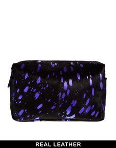 ASOS Large Leather Washbag In Pony Paint Splatter