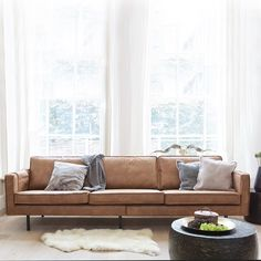 Rodeo Sofa Cognac - My Dutch Living Room Scandi Living Room, Living Room Sofa, Interior Design Living Room, Living Room Designs, Living Room Decor, Brown Leather Sofa Living Room, Modern Interior, Leather Sofas Uk, 3 Seater Leather Sofa
