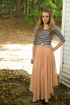 Maxi Skirt, Stripe Crop Top, Stopwatch Necklace, Cross Necklace, Lace Up Booties