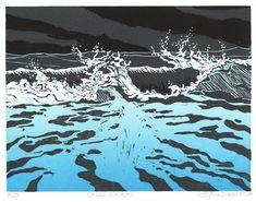 Ocean Wave #2 by Emily Trueblood -linocut