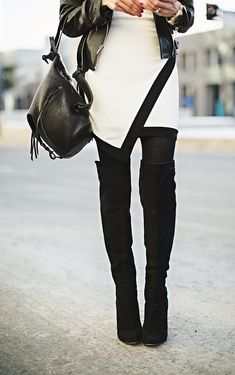 Black over-the-knee boots and an asymmetrical skirt. #fashion #ootd #outfit #inspiration