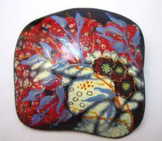 Artisan enamel over copper brooch, modern art, flowers in a storm
