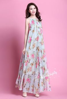 Items similar to 90 Colors Chiffon Butterfly Pink Flower Long Party Evening Wedding Lightweight Maternity Dress Sundress Summer Dress Bridesmaid Maxi Skirt on Etsy Simple Gown Design, Fancy Dress Design, Simple Dresses, Casual Dresses, Fashion Dresses, Summer Dresses, Indian Designer Outfits, Designer Dresses, Maternity Photo Dresses