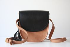 Mini Cross Body Leather Bag in Nude and Black by marchandcraft