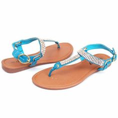 Womens Gladiator Sandals Glitter Rhinestone & Sequin Shoes Ankle Buckle T-Strap Thongs Roman Flats