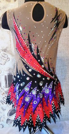 Carmen - leotard for rhythmic gymnastics ! If you do not fit this size - we will be happy to make the model according to your size.! In the production used : 1. Hand-painted on fabric . 2. Stones ( crystals ) DMC AB and sewing acrylic fragmentary . 3. Supplex and net - production of