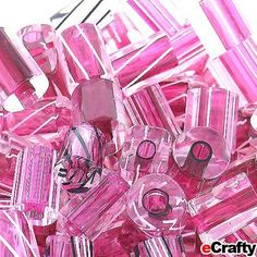 Cane Glass Beads USA Fire Designs Mix Tubes 10g 10pc Magenta Pink #cane #glass #caneglass #beads #beading #furnaceglass #furnaceglassbeads #firedesigns #lampwork #lampworkglass #diy #jewelry #pink #magenta www.eCrafty.com