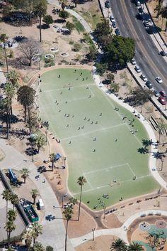 Soccer field in MacArthur Park, CA.